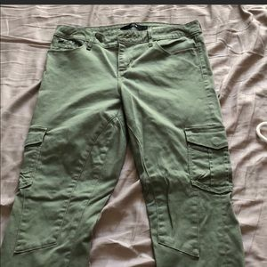 Green cargo-like Joe's pants